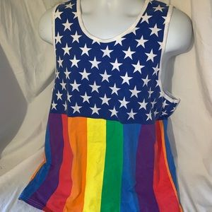 Spencer's stars and rainbow men's tank top size lg